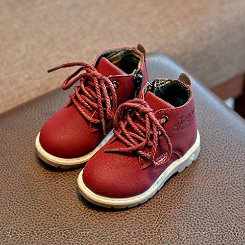 Baby Stiefel,Chshe Kinder Mode - Jungen Mädchen Martin Sneaker - Spitze An Kinder Baby Casual Schuhen Rot