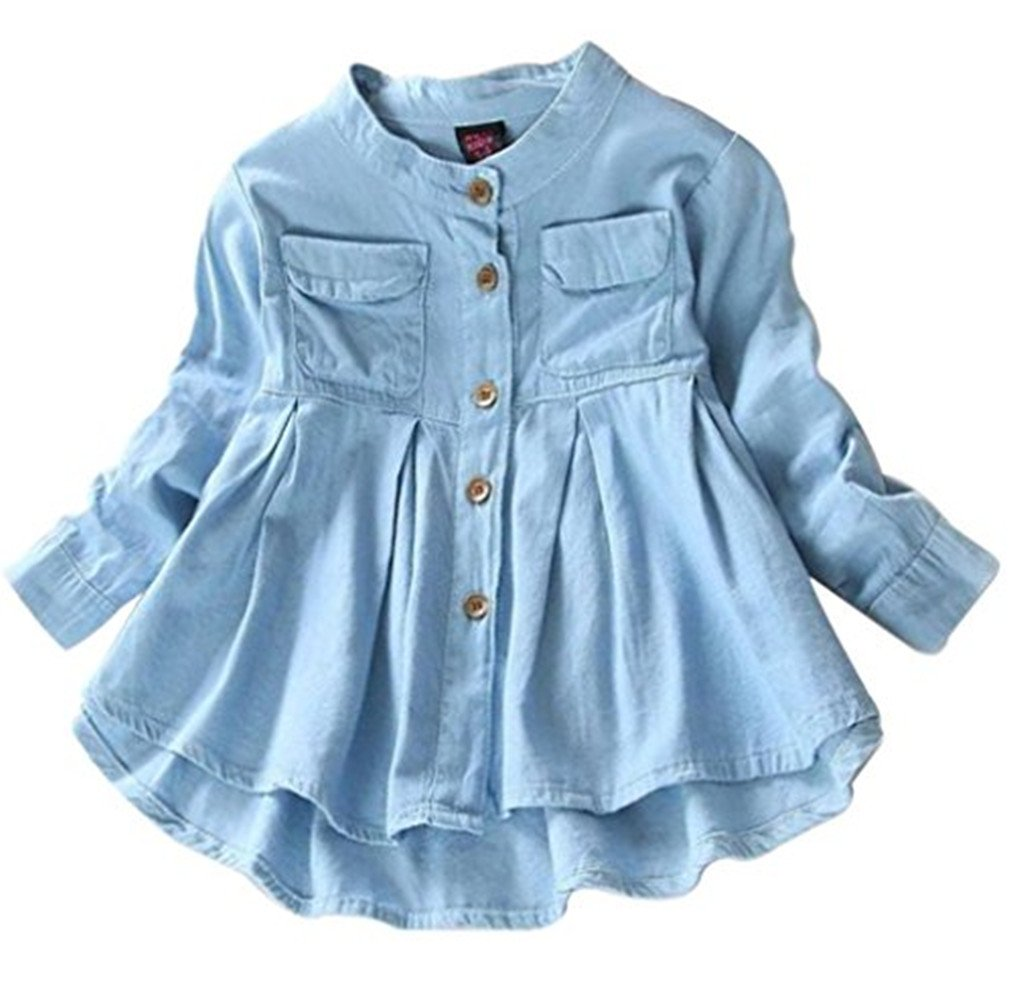 Kids Baby Girls Ruffled Hem Denim T Shirt Tops Long Sleeve Casual Princess Blouses Size 6-7T/Tag150 (Blue)