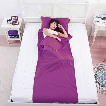 Algodón saco de dormir adulto viaje portátil saco de dormir Liner cómodo para Hostales Picnic aviones trenes, sleeping bag liner purple: Amazon.es: Deportes ...