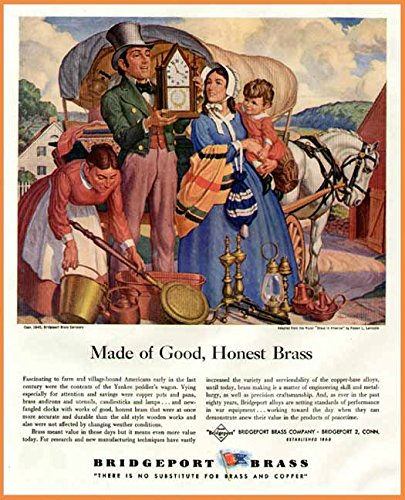 1945 Bridgeport Brass Color Advertisement Brass in America, Robert Lambdin Original Paper Ephemera Authentic Vintage Print Magazine Ad/Article (Brass Bridgeport)