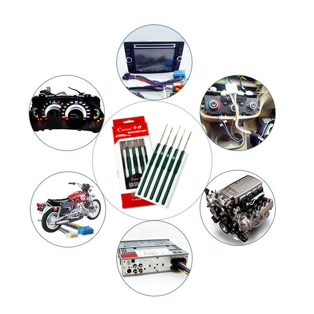 Kalolary DIY 5PCS Car Cable Wire Terminal Socket Plug Pin Removal Maintain Dismount Tool Kit Auto Terminals Removal Tool Set by Kalolary (Image #7)