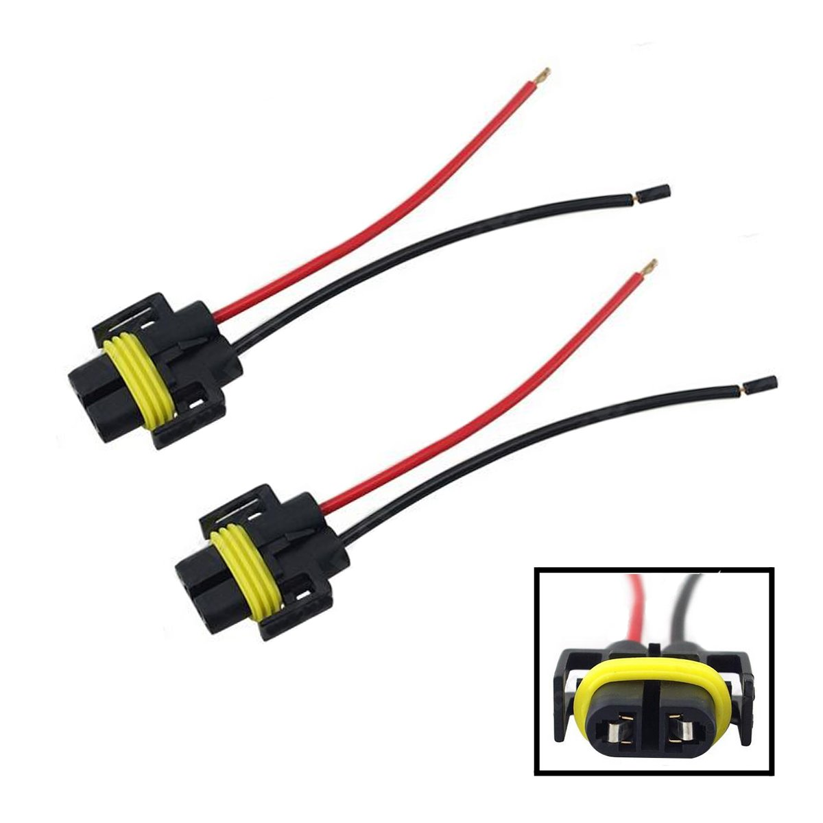 iBrightstar H11 H9 H8 Female Adapter Wiring Harness Sockets Wire For Headlights or Fog Lights