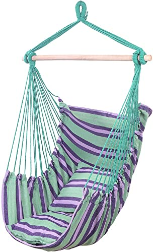 samanoya Hanging Hammock Chair Swing,Hanging Rope Chair with 2 Pillows,Large Brazilian Hammock Chair Comfortable and Durable Cotton Canvas for Any Indoor or Outdoor Spaces Green