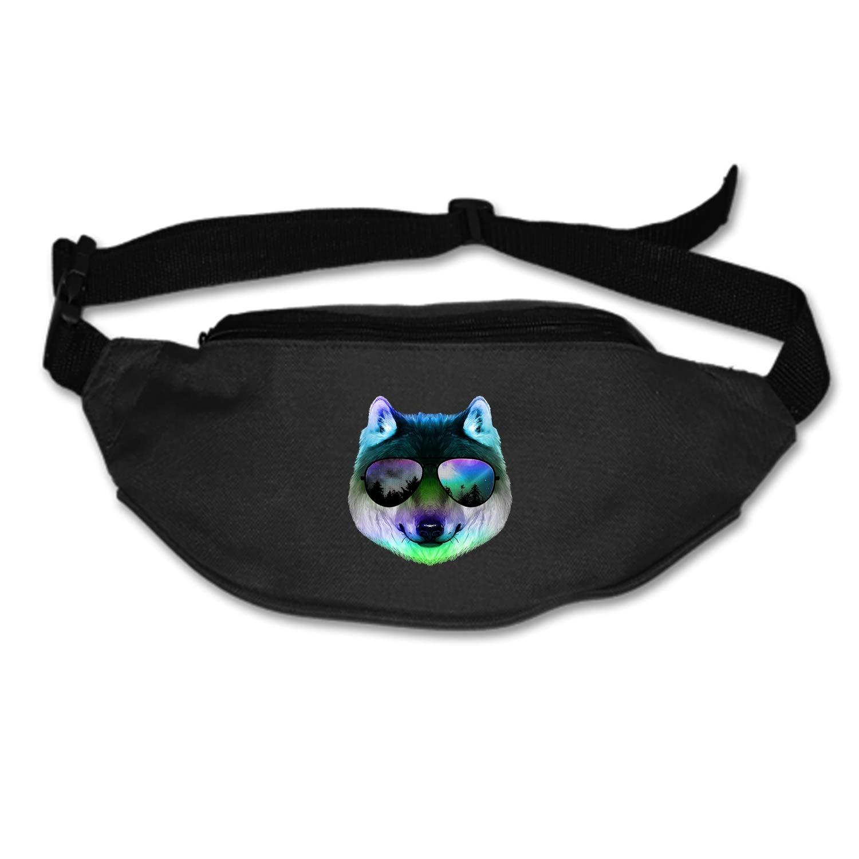 Womens Sports Hiking Running Belt Sunglasses Wolf Waist Bag Pouch Zipper Printed Fanny Pack