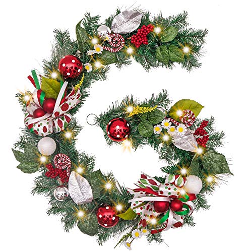 Valery Madelyn Pre-Lit 6 Feet/72 Inch Delightful Elf Christmas Garland with Ball Ornaments, Berries, Candy Canes, Ribbons and Flowers, Battery Operated 20 LED Lights (Operated Battery Pre Garland Lit)