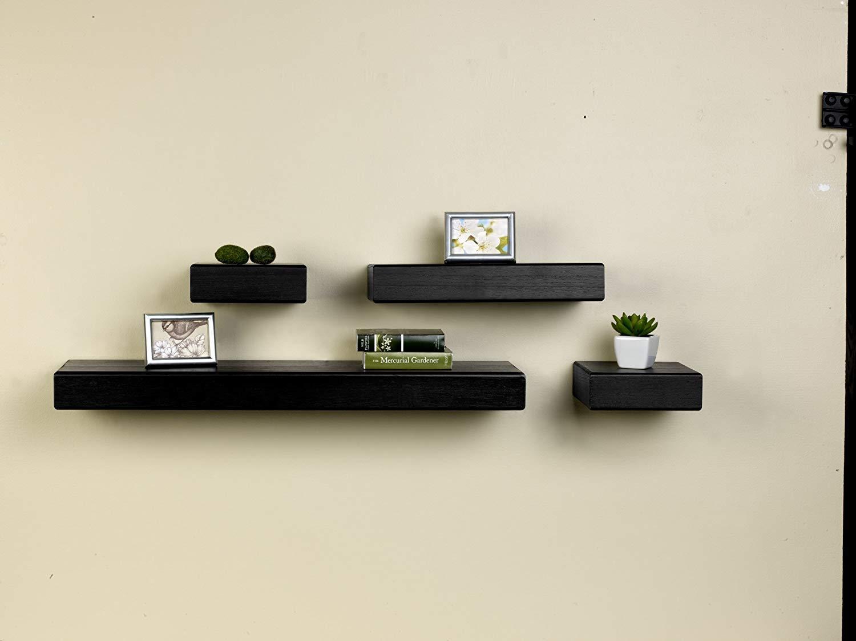 melannco floating chunky shelves set of 4 black 4 count