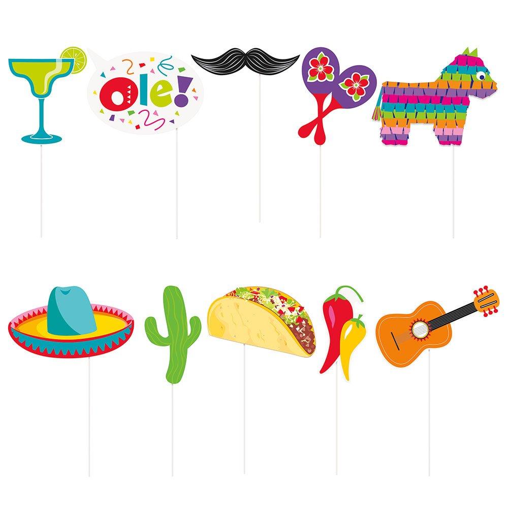 set di 10 Unique Party 58689/mexican Fiesta photo booth props