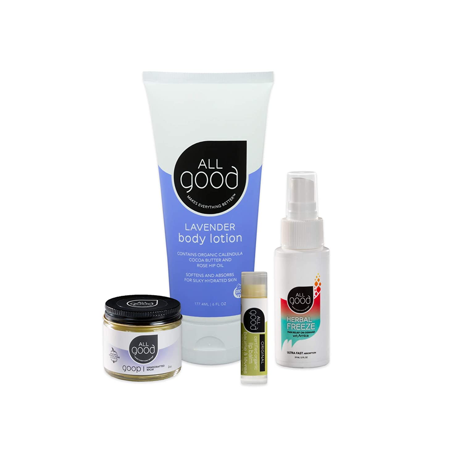 All Good Work From Home Support Gift Set - Goop, Lavender Lotion, Organic Original Lip Balm, Herbal Freeze
