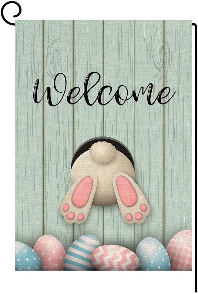 Welcome Spring Easter Bunny Small Garden Flag Egg Vertical Double Sided Burlap Yard Outdoor Decor 12.5 x 18 Inches (126019)