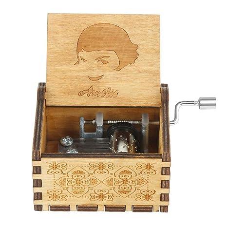 InnerSetting Caja de música de Madera con Grabado de Retro, Caja de música, manivela