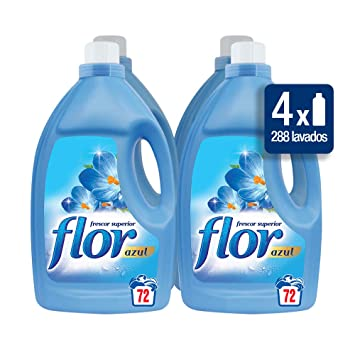 Flor Suavizante Regular Azul 72 dosis [Pack de 4, Total 248 dosis ...