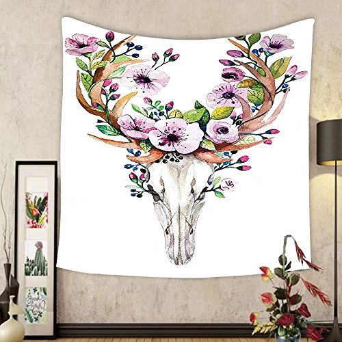 Gzhihine Custom tapestry Ambesonne Skulls Decorations Collection Deer Animal Skull with Floral Horns Nature Inspired Dead and Living Art Print Bedroom Living Room Dorm Tapestry Cream Pink Brown by Gzhihine