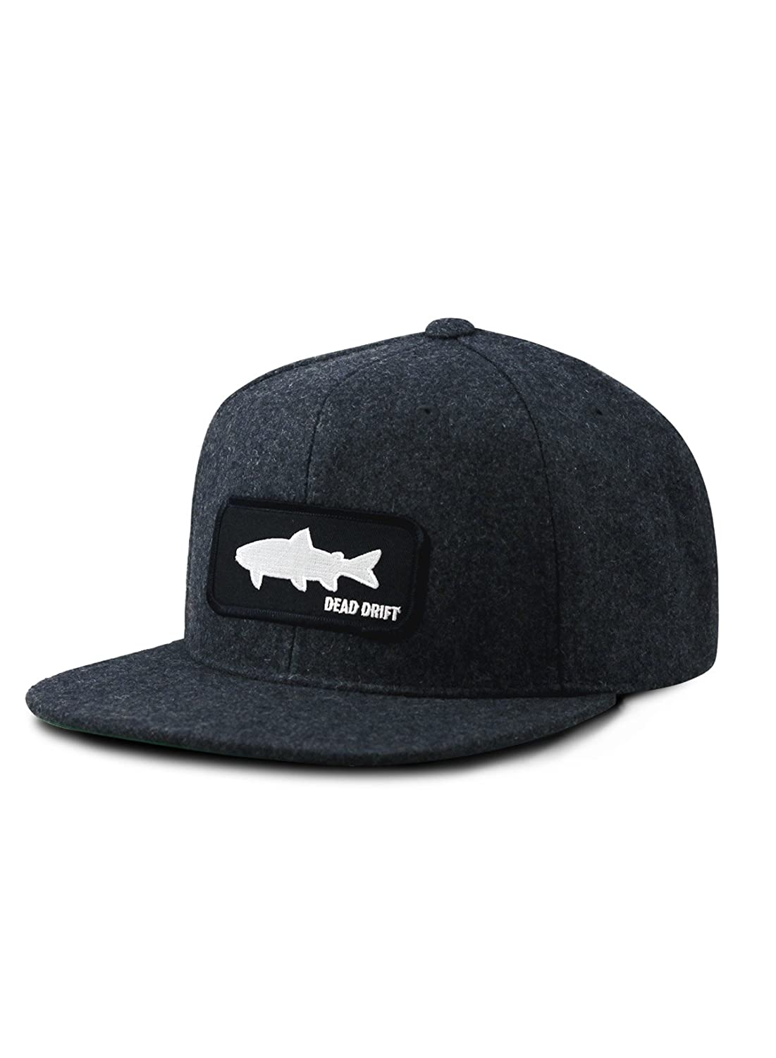 3f4e434a115 Dead Drift Fly Fishing Hat Shadow Wool Flat Bill Snap Back (Charcoal) at  Amazon Men s Clothing store