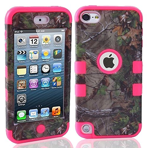 Kecko(TM) Defender Tough Armor Tree Camo Shockproof Dual Layer High Impact Camouflage Hunting Tree Forest Hybrid Hard Suitable Fit Case For ipod Touch 5 5th Only--Forest/Tree/Leaves On The Core (Tree Camo Hot Pink)