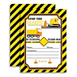 Amanda Creation Construction, Digger, Dump Truck Birthday Party Fill in Invitations set of 10 with envelopes