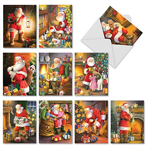 10 Assorted 'Santa Glow' Christmas Cards with Envelopes 4 x 5.12 inch, Boxed Greeting Cards, Nostalgic Illustrations of Santa Checking His List and Giving Presents on Christmas Eve M2291