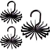 VEHHE Tie Rack Hanger Holder Hooks Organizer for Mens Closets(3 Set, 360 Degree Rotating, 18 Hooks, Black)