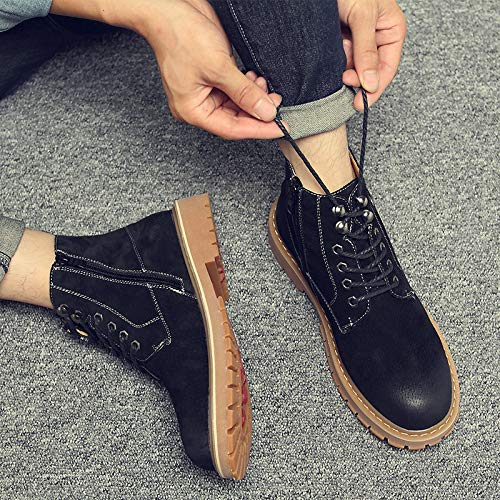 Shukun Herren Stiefel Autumn Scrub Pu Martin Stiefel Men's Workwear Side Zipper Men's Stiefel Cotton Retro Stiefel High Help Men's Schuhes
