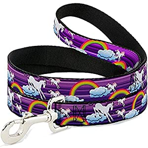 Buckle-Down Dog Leash Unicorns Rainbows Stripes Purple 6 Feet Long 0.5 Inch Wide