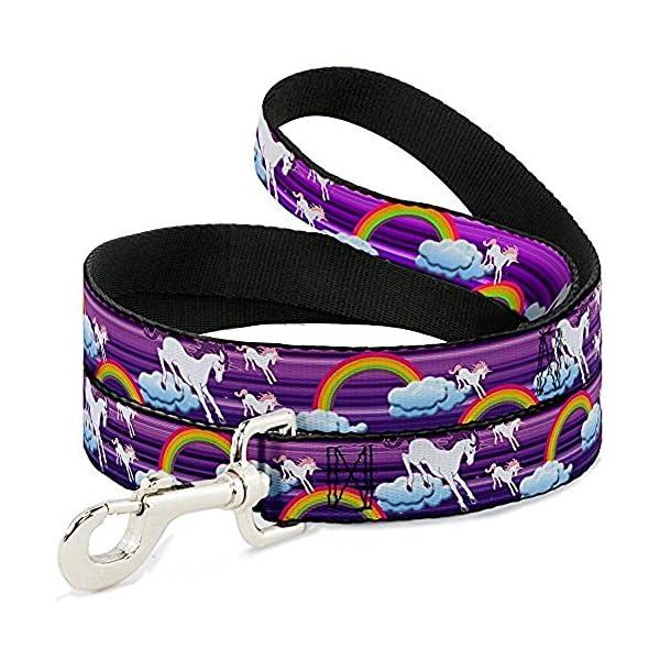 Buckle-Down Dog Leash Unicorns Rainbows Stripes Purple 6 Feet Long 0.5 Inch Wide 3
