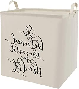 Collapsible Laundry Hamper Clothes Laundry Basket Canvas Nursey Laundry Hamper Foldable Bedroom Storage Basket Bins for Home (F-White-Letter)