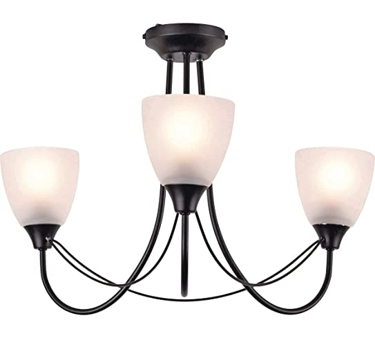 Argos home symphony 3 light ceiling fitting 3 frosted glass argos home symphony 3 light ceiling fitting 3 frosted glass shades black aloadofball Image collections