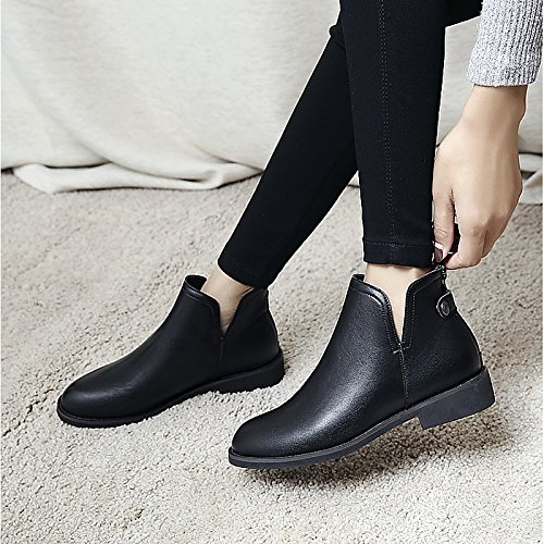 Comfort HSXZ Shoes Heel Toe Fall Materials Black Round ZHZNVX Boots Toe Booties Winter Soles Light Fashion Women's Customized Boots Low Boots Ankle Closed CdgnE6q0