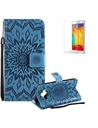 Funyye Strap Magnetic Flip Cover for Samsung Galaxy J7 Duo,Premium Blue Sunflower Embossed Pattern Folio Wallet Case with Stand Credit Card Holder Slots Case for Samsung Galaxy J7 Duo,Shockproof Ultra Thin Slim Fit Full Body PU Leather Case for Samsung Galaxy J7 Duo + 1 x Free Screen Protector