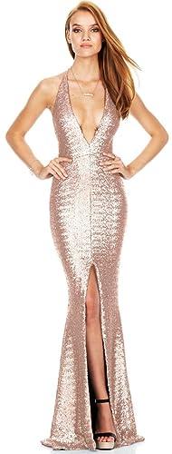 S.S Women's Elegant Sexy Blackless Sleeveless Deep V Split Evening Dress Formal Long Prom Dress Cock...