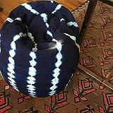 MACKENZIE BRYANT & CO Indigo Stripe or Rust & White Mudcloth Poufs, Bean Bag Chair, Ottoman