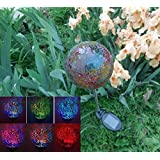 Solar Colorful Ball Globe Light (#Black05R), Solar Power Multi-color Color changing LED Mosaic Crackle Glass Decorative Garden Yard Light Stake