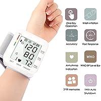 Awopee Monitor de presión de muñeca,Máquinas automáticas de presión arterial digitales de medida para uso en el hogar, pantalla LCD grande, monitor de prueba de presión arterial portátil con frecuencia cardíaca