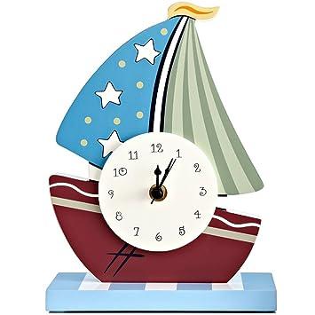 AIKE Dibujos Animados Moderno Creatividad Personalidad Moda Silencio velero Reloj de Mesa Decoración Regalos Sala estudiar Cuarto Restaurante Cuarto de los ...