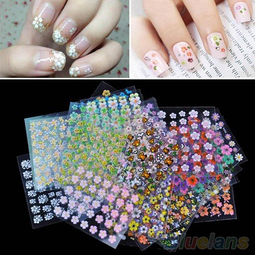 Nail Art Stickers - Acrylic Nail Art Stickers - 30 Sheets Multi Color Nail Art Stickers Decals Manicure Design Accessories Floral 1UIF - Nail Art Stickers For Adults ()
