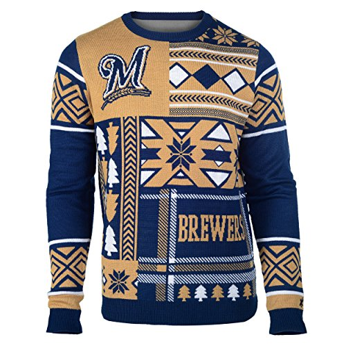 MLB Milwaukee Brewers Patches Ugly Sweater, Blue, Large