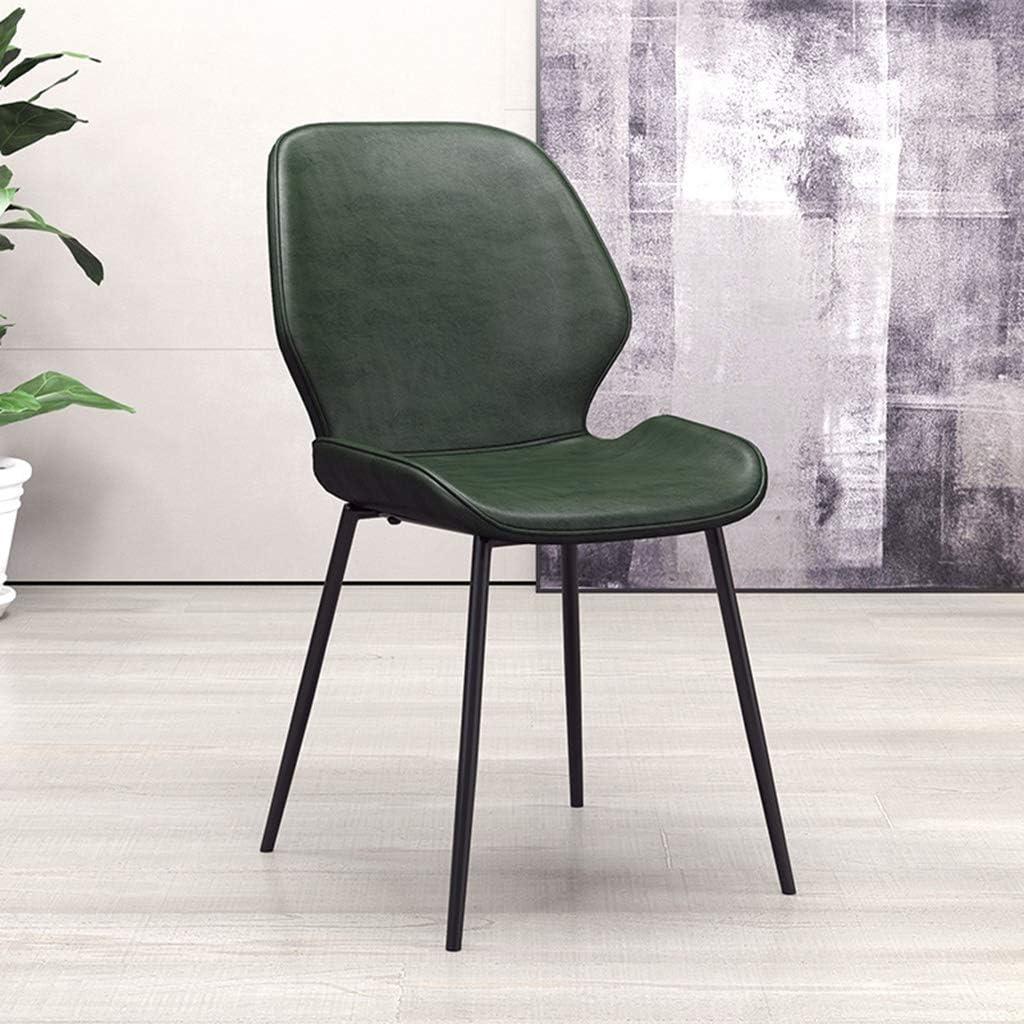 Ensemble de 4 Chaises de Salle à Manger avec Dossier Chaise de Cuisine Rétro Chaise de Salon Assise en Similicuir et Pieds en Métal (Color : Dark green) Dark Green