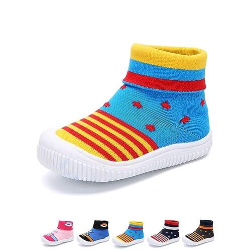 YUHUAWYH Bebé Muchachos Chicas Calzado Antideslizante Calcetines Zapatos para niños pequeños Caminante Calcetines para niños de 0-6 Meses a 4-5 años: ...