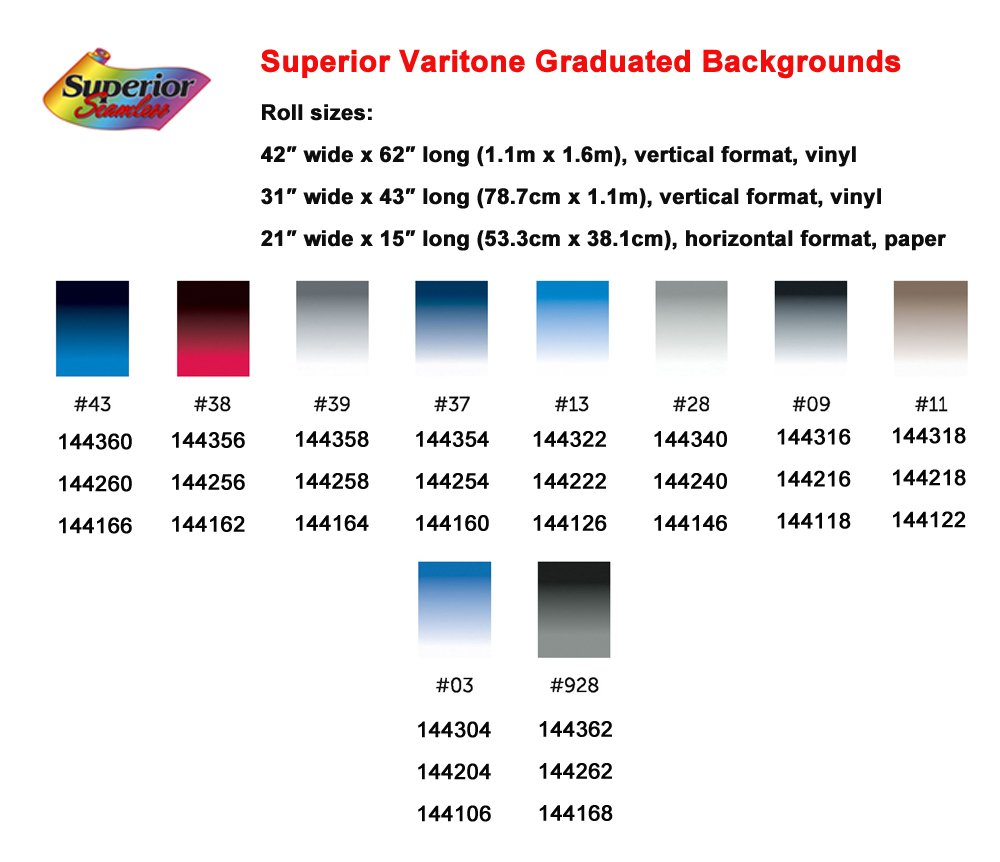 Superior Specialties Varitone Graduated Photography Background, 42-Inches By 62-Inches, Black to White (144316) by Superior Specialties
