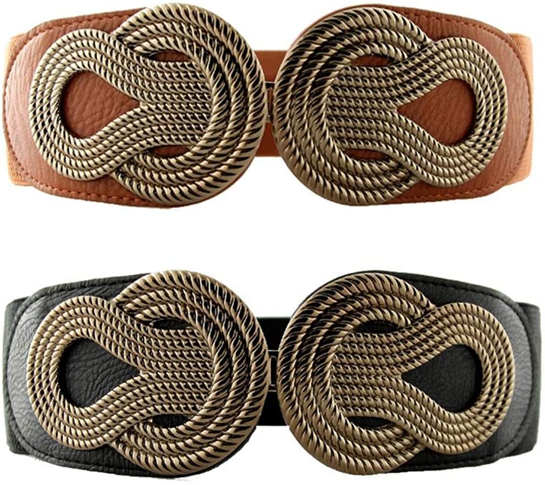 Women Fashion Wide Belt Brown Wood Band Gold Metal Vintage Buckle Plus M L XL