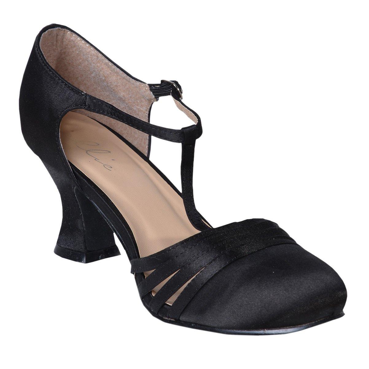 1920s Flapper Dresses, 20s Costumes in Australia Womens Sexy Black Shoes 2.5 Inch Heel Satin Dance Shoe Flapper Costume 1920s AUD 50.28 AT vintagedancer.com