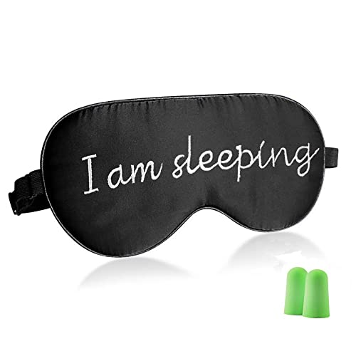 LONFROTE Natural Silk Filled Sleep Eye Mask for Sleeping Aids,with Ear Plugs and Carry Pouch,Lightweight & Comfortable & Adjustable,Super Soft for Men & Women Travel (I am sleeping)