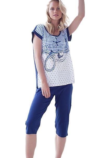 Pijama De Manga Corta Mujer Admas Pirata Summer, Color Azul, Talla S