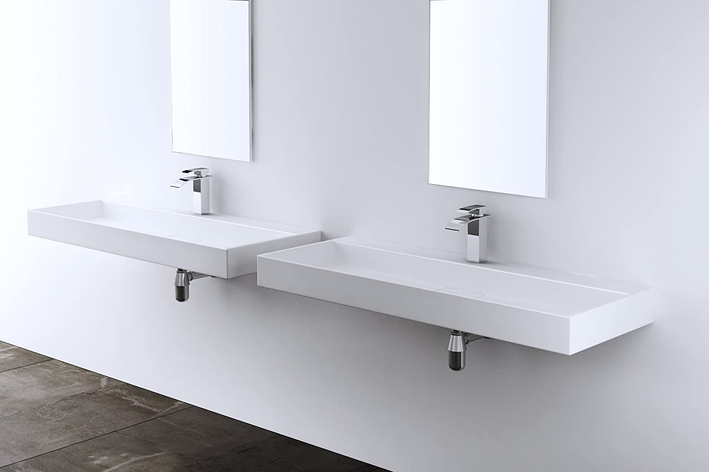 Lavabo double vasque /à poser /évier avec percage pour 2 robinets Colossum 19-2 1200 120x46x11cm