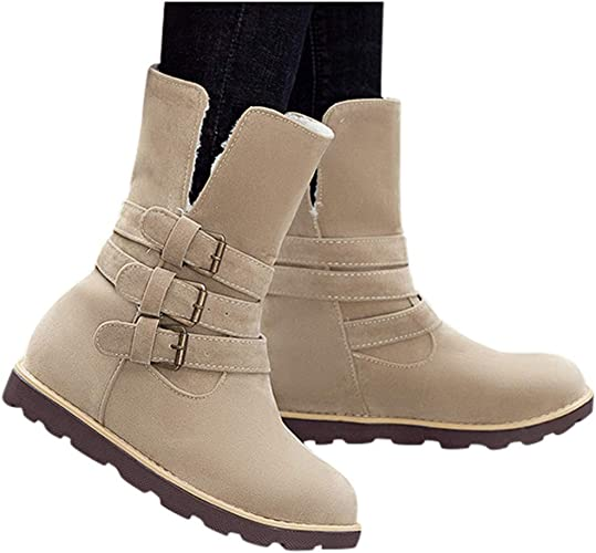 Winter Women Suede Plush Lined Warm Fur Snow Flat Ankle Boots Shoes Size Buckle