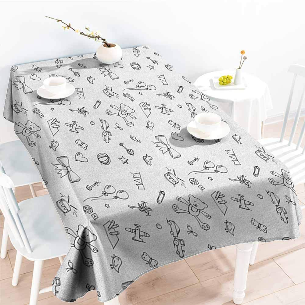 familytaste Kids,Oblong tablecloths Cute Baby Icons Doodle Style Various Toy Figures Newborn Toddler Scribble Collection 60''x 120'' Polyester Washable Table Cover