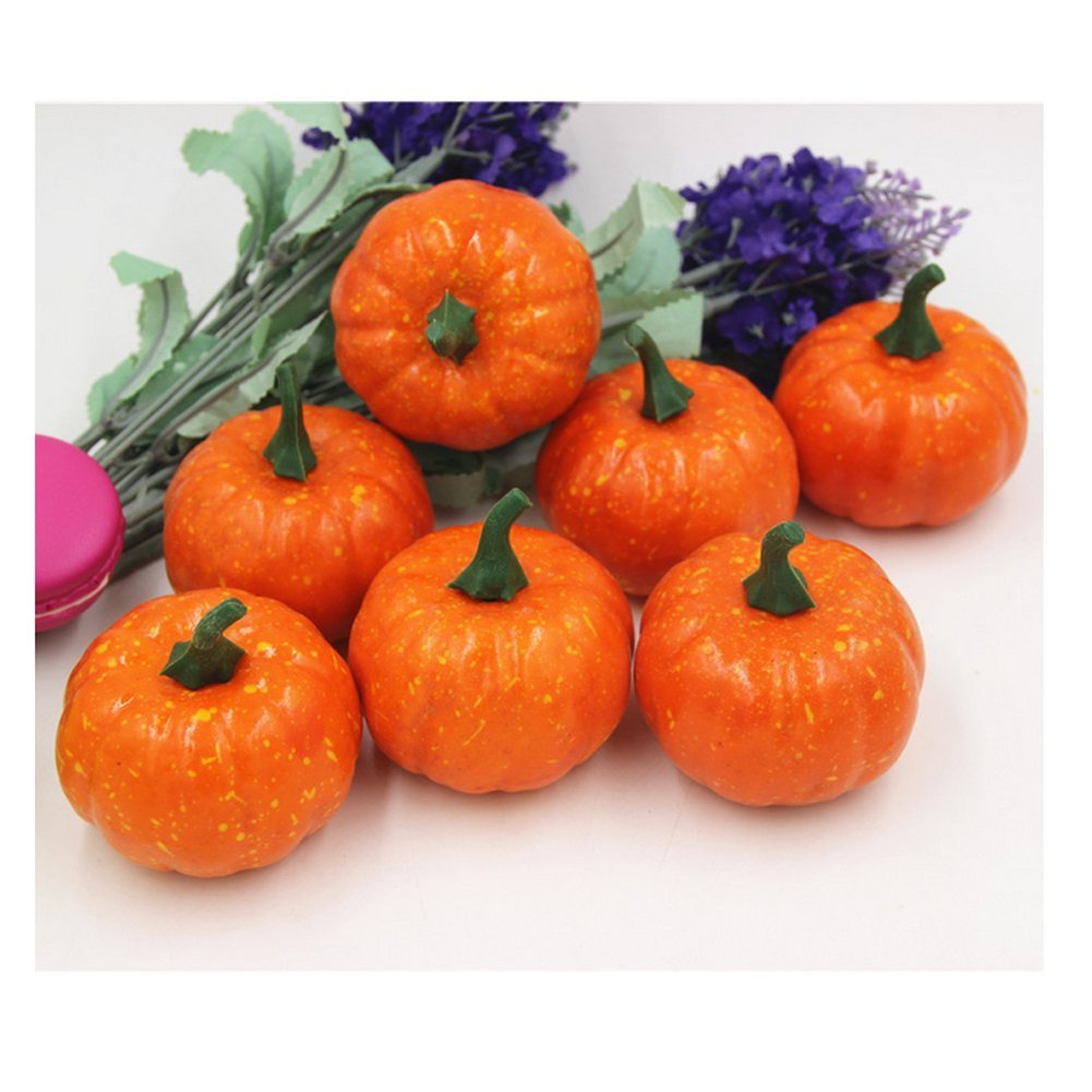 27727a2c16c Ehdching Pack of 16 Artificial Realistic Fall Harvest Mini Pumpkins for  Halloween Home Decoration