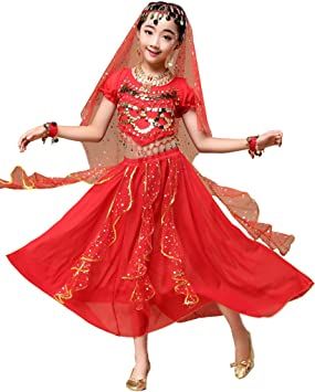 Astage Niña Traje Danza del Vientre Lentejuelas Danza India ...