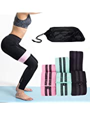 Bloodyrippa Fabric Resistance Loop Bands Set, 3 Resistance Level, Anti-Slip, Hip Booty Exercise Bands for Legs, Butt, Activate Glutes and Thigh, Black/Cyan/Pink