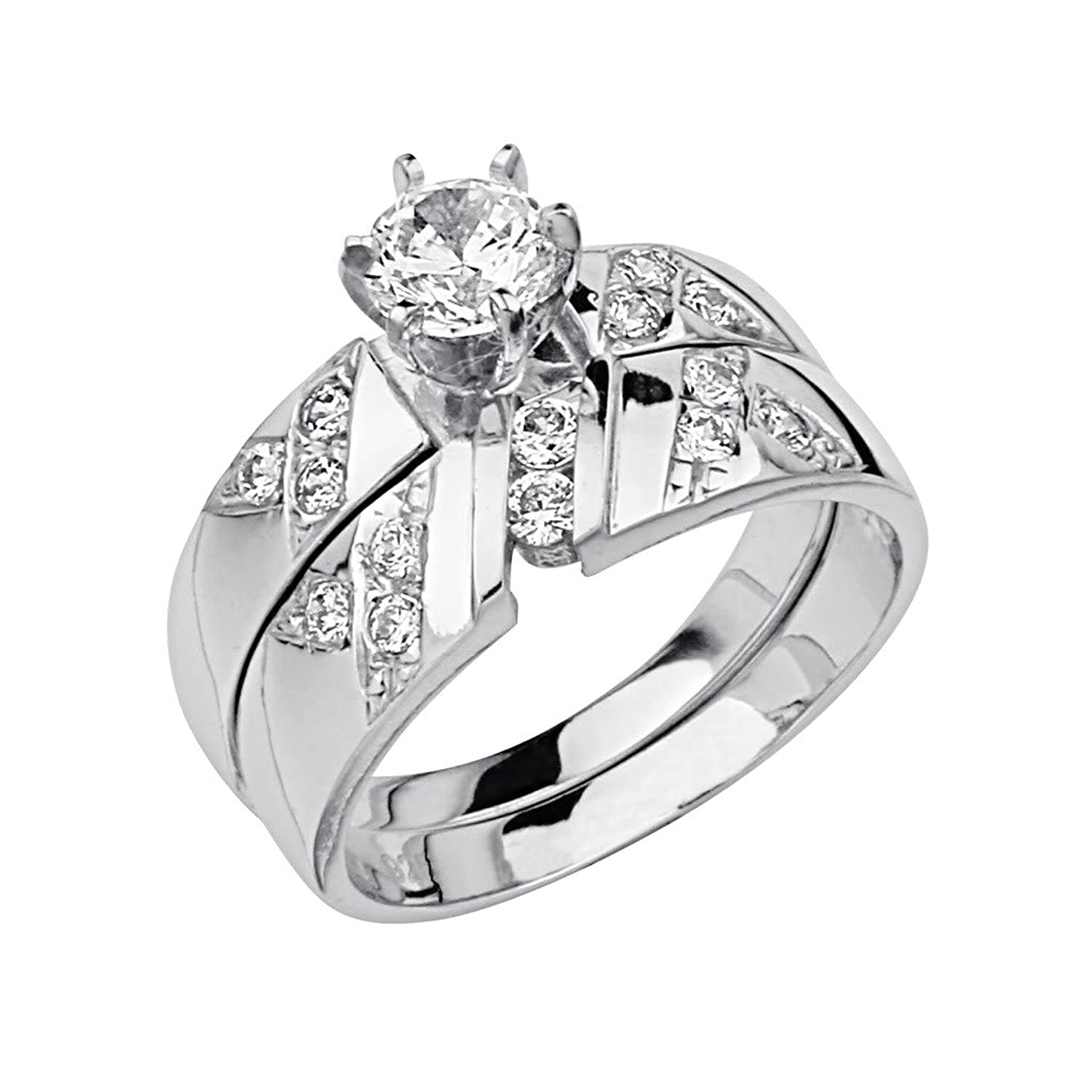.925 Sterling Silver Rhodium Plated Wedding Engagement Ring and Wedding Band 2 Piece Set