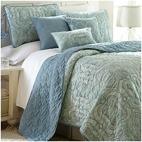Queen Size Light Weight Damask Pattern Quilt Set in Mint Green / Carolina Blue - 6 Pieces free shipping